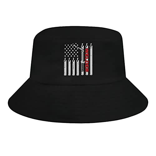 Ziixi Soldador Antorcha Soldadura Bandera Americana Cubo Sombrero Hombres Mujeres Tamaño Grande Divertido Sol Sombreros Verano Gorra Al Aire Libre Sombrero De Pesca Negro
