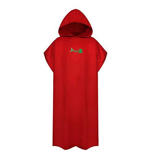 Toalla de baño para adultos y niños, con capucha para cambiar traje de baño, tamaño grande y compacto (rojo)