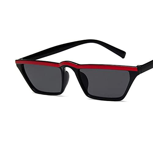 Gafas de Sol Gafas De Sol Rectangulares Vintage para Mujer, Diseño De Ojo De Gato, Montura Pequeña, Gafas De Sol para Mujer, Gafas Negras Retro C2Redblack