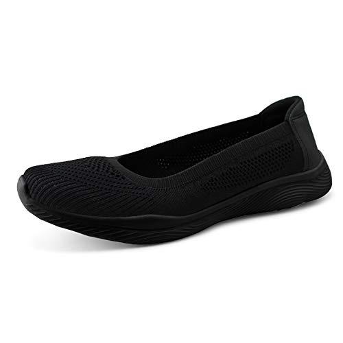 JABASIC Women Slip On Knit Loafers Comfortable Walking Flat Shoes (5,Black/Black)