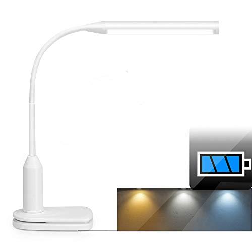 Lámpara de mesa LED y luz de clip, batería recargable de 2000 mAh, brillo ajustable continuo, flexibilidad de 360 grados y control táctil, luz de lectura de estudio para dormitorio de estudio