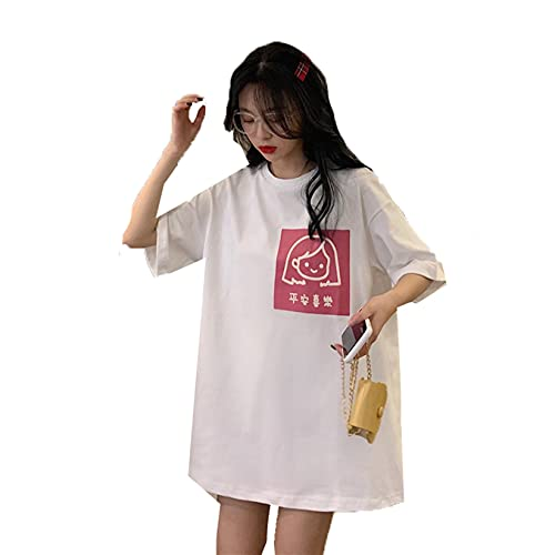 Generic11 T-Shirt Cartoon Print Loose Fit Solid Color Lovely Daily Casual Breathable Pull On Tops Comfort Home Casual Shirt