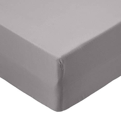 Amazon Basics FTD, Sábanas Ajustables, 90x190x30cm, Gris Oscuro