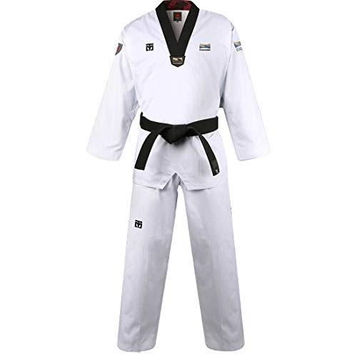 Mooto Korea Taekwondo BS4.5 Kukkiwon Uniform Schwarzer Hals TKD MMA Kampfsport Karate Hapkido Judo JIU-Jitsu (160(Höhe: 160~169cm)(5.24~5.54ft))