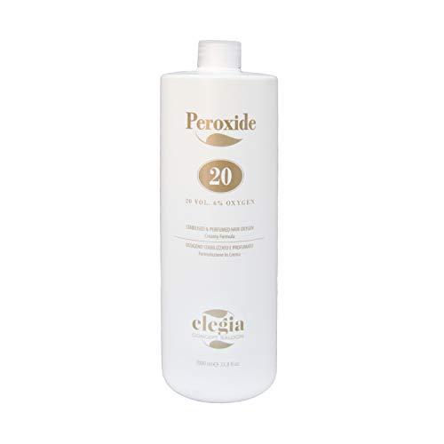 Ossigeno per Capelli Elegia - Emulsione Ossidante in Crema Profumata 10 e 20 Volumi - Per colorazione Capelli Senza Ammoniaca - 1000ml (Volume 20)