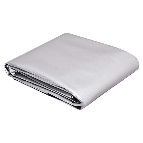 AmazonCommercial - Lona impermeable de poliéster multiusos, 3,6x4,8m, 0,4mm de espesor, plateado y negro, pack de 1unidad