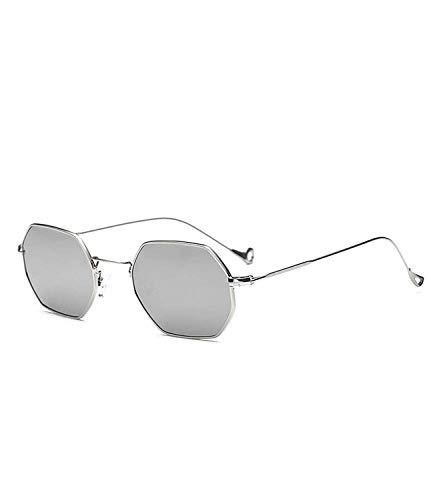 Occhiali da Sole,Occhiali da Sole Sportivi,Retro Sunglasses Women Small Frame Polygon Clear Lens Sunglasses Men Vintage Sun Glasses Hexagon Metal Frame