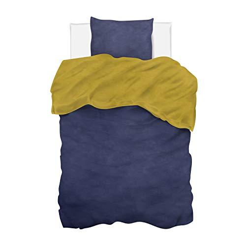 Aminata Kids - Wende-Bettwäsche-Set Uni 135-x-200-cm Damen, Männer & Jugendliche - Baumwolle - dunkel-blau, senf-gelb - weich & kuschelig, Marken-Reissverschluß & Öko-Tex