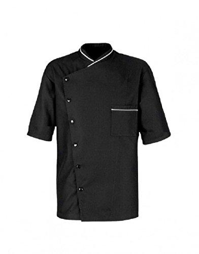 Unisex Men Women Chef Jacket White Black Coats Cook Clothes Collar Trim (XL (for Chest 44-45), Black)