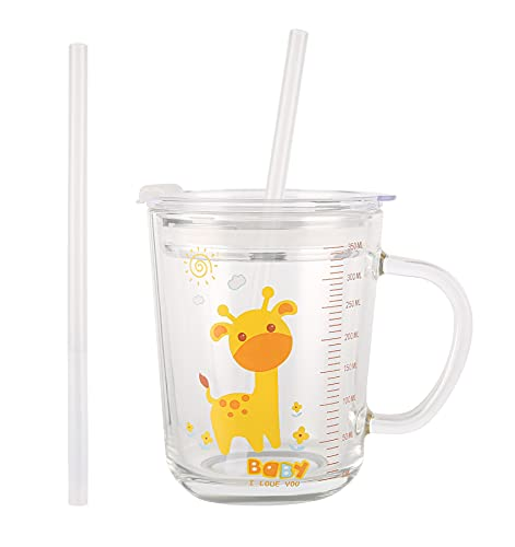 Wulisan Glass Tumbler Milk Cup with Silicone Straw and Lid Handle for Kids & Adult 350ml/ 12oz Water Mug with Scale Juice and Drinking Mug for Kids (Giraffe)