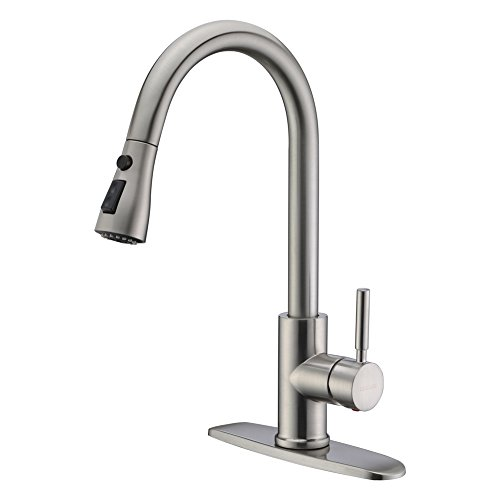 WEWE Single Handle High Arc Brushed Nickel Pull Out Kitchen Faucet,Single Level Stainless Steel Kitchen Sink Faucets