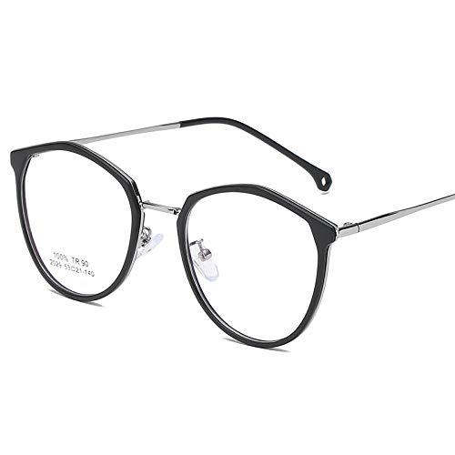 Computerscherm leesbril, rond half metalen brilmontuur, retro persoonlijkheid, eenvoudige stralingsveilige platte spiegel. Zand Black Silver Frame
