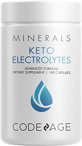 Keto Electrolytes Supplement – Vegan Electrolyte Tablets w Magnesium, Potassium, Calcium & Salt - Electrolyte Powder Salt Pills & Drink Hydration Supplements – Non-GMO, Keto Diet -180 Capsules