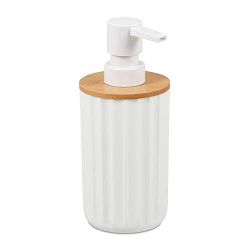 Relaxdays Dispensador Jabón Líquido, Dosificador Redondo y Moderno, Bambú y Plástico, 1 Ud, 17 x 7.5 cm, Blanco - Marrón