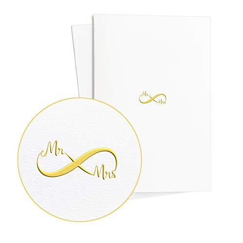 Zwei Hochzeitskarten Extravagant, Mr and Mrs in Goldfolienprägung auf edlem Papier, Glückwunschkarte zur Hochzeit Edel für Sie oder für Ihn, E16