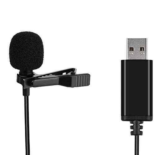 Universal Lavalier USB Microphone for Computer with USB Adapter Compatible with Laptop, Desktop, Pc, Podcasting,Vlog,YouTube Gaming, Remote Work Interview and Laptop Microphone(4.92-Foot Cord)