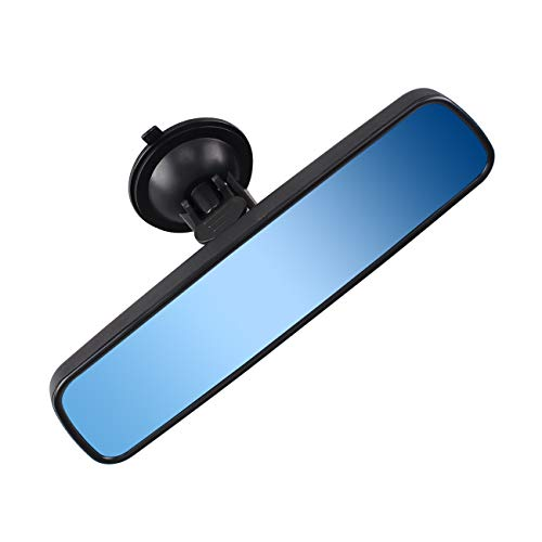 Anti-glare Rear View Mirror, Universal Car Truck Interior RearView Mirror ANTI GLARE Suction Cup Blue Mirror