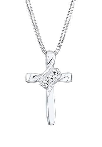 Elli Halskette Damen Kreuz Religion mit Kristalle in 925 Sterling Silber