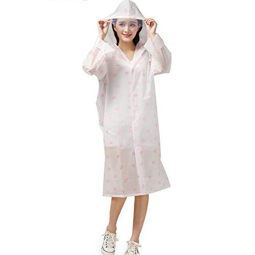 QqHAO Raincoat Femmes Randonnée Raincoat EVA Translucide Raincoat Sac à Dos Non jetables Raincoat,Rose,M