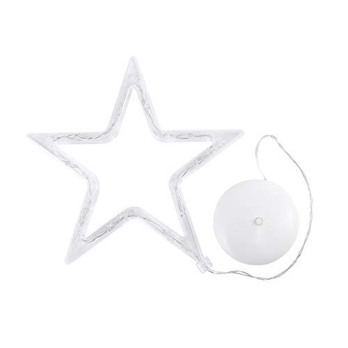 LEDMOMO Luci Di Natale - Stella A Cinque Punte Con Luce Per Finestra Con Ventosa E Batteria Per Decorazioni Natalizie (Luce Bianca Pura)
