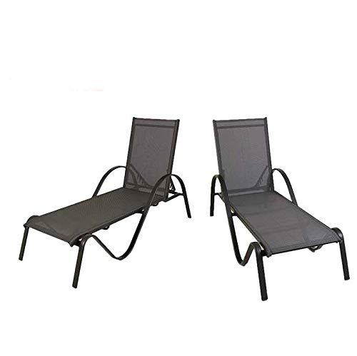 Edenjardi Lote 2 tumbonas de Exterior apilable y reclinable, de Aluminio y textilene
