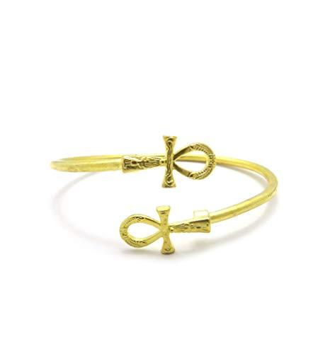Egyptian Pyramid, Queen Nefertiti, Fist Piece 100% Solid Brass Cuff Bangle Bracelet
