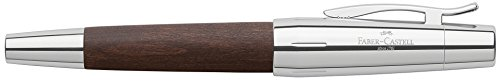 Faber Castell 148211 - Pluma estilográfica E-motion, con cuerpo en madera de peral, plumín de acero inoxidable, trazo F, color marrón oscuro