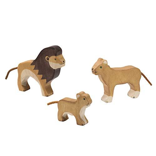 cama24com Holztiger Löwen Raubkatzen Set mit 3 Holzfiguren Safari Holzspielzeug Holztiere mit Palandi® Sticker