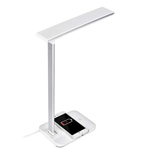 Preisvergleich Produktbild ASHATA LED-Schreibtischlampe mit kabelloser Aufladung, Blickfeste Bürolampe mit USB-Ladeanschluss Tischlampen für Studium,  Lesen und Schlafen,  135 ° Drehung,  10W,  Weiß