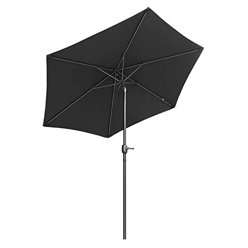 Sekey 2.7m Parasol inclinable pour Patio Jardin Balcon Piscine Plage Rond Sunscreen UV50+ (Noir)