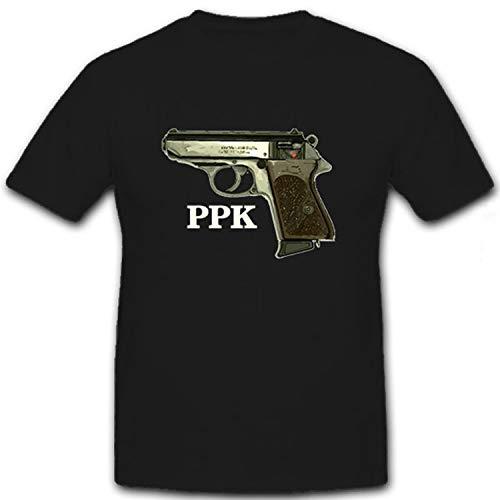 PPK Pistole Waffe Selbstladepistole Sportwaffe Polizeipistole - T Shirt #8778, Größe:XL, Farbe:Schwarz
