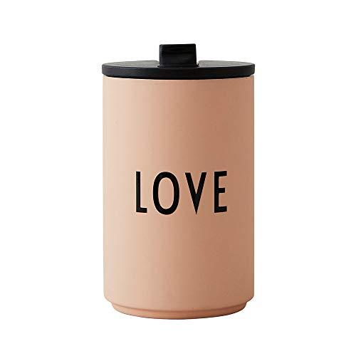 Design Letters Thermobecher- Isolierbecher Nude Love   BPA-Frei   350 ml   Kaffeebecher to Go   Edelstahl Travel Mug   Deckel mit einfachen Öffnnen/Schließ System   Skandinavisches Design