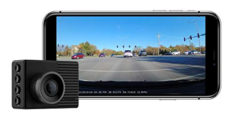 """Garmin Dash Cam 46, Wide 140-Degree Field of View In 1080P HD, 2"""" LCD Screen and Voice Control, Very Compact with Automatic Incident Detection and Recording"""