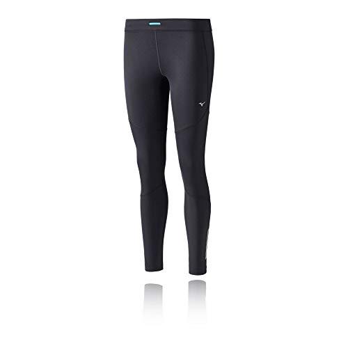 Mizuno Warmalite - Mallas de Correr para Mujer, Color Negro, Plateado, XS