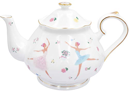Zealax Floral Fine Bone China Teapot British Tea Pot, Ballet Dancer Girls, 37oz / 1100ml