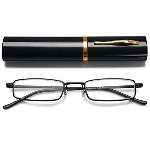 VEVESMUNDO Metall Lesebrille Mini Kompakt Leicht Federscharnier Schmal Klassische Lesehilfe Brille mit Metall Etui (Schwarz, 1.0)