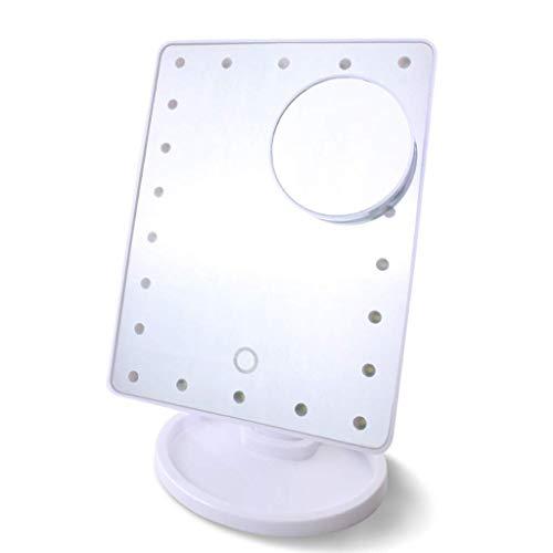 Espejo de maquillaje portátil Xuan con luz de relleno LED para dormitorio (color: batería versión-b, tamaño: 22 luces)