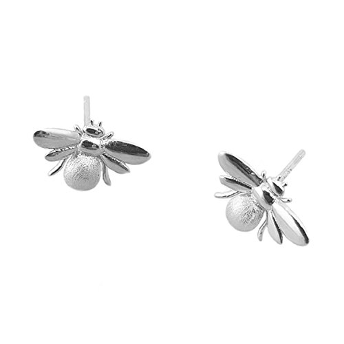 Nikita By Niki  Bumble Bee Stud Earrings | Quality 925 Sterling Silver or Gold Filled | Insect Jewellery For Women | Honey Queen Bee Studs in Luxury Gift Box (Silver)