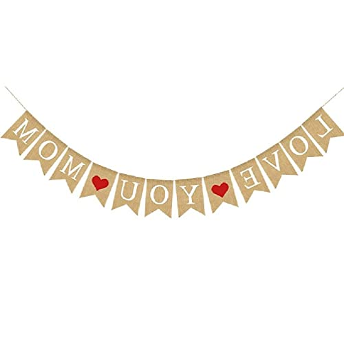 Banner de arpillera LOVE YOU MOM DAD Día de la madre rústico Regalos del día del padre Decoraciones Día del padre
