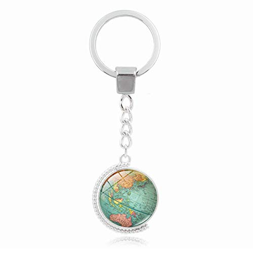 YUNMENG Mapa del Mundo Retro, Doble Cara, Tiempo Giratorio, Gema, Llavero, Colgante, Llavero de aleación