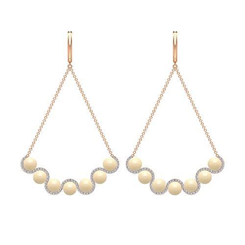 Pendientes colgantes de perlas cultivadas japonesas de 14,52 quilates, perlas de cóctel y diamantes, pendientes colgantes de oro, 14K Oro rosa, Par