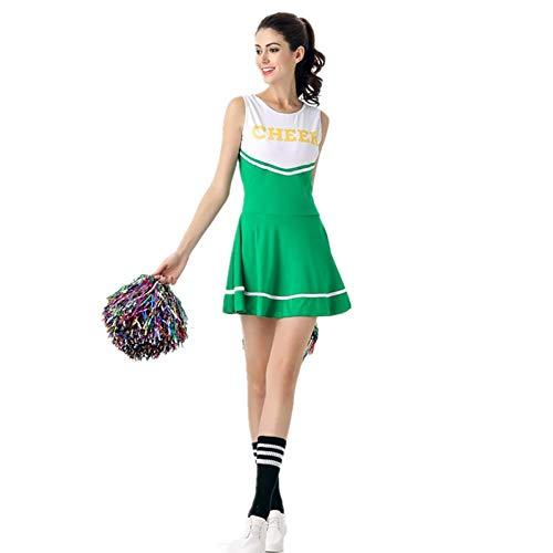 KHDFYER Dessous Rot High School Girl Glee Kostüm Cheerleader Sexy Kostüm Mädchen Cheerleader Uniform Schulmädchen Kostüm-Green_One_Size