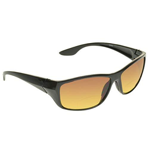 proSPORT Bifocal Reading Sunglasses Reader +2.00 Black HD Amber Anti Reflective Men Women