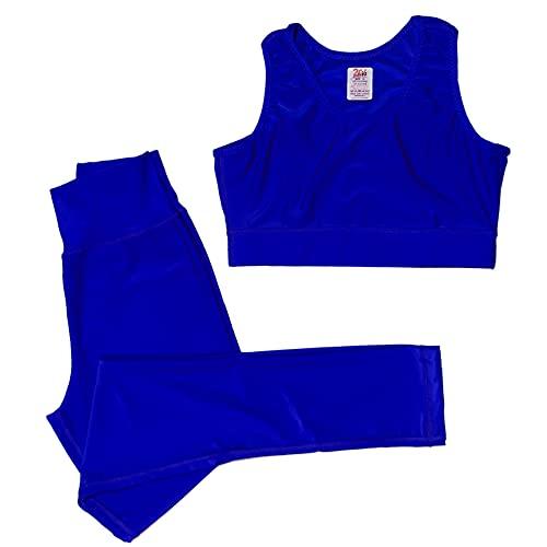 2Fit Sport Legging e Reggiseno Active Wear per Ragazze Abiti Allenamento Set Palestra - Jogging - Yoga - Tuta elastica da allenamento (blu, piccolo)