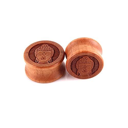 X/L 2 tapones de madera para los oídos con doble acampanado para los oídos, kit de estiramiento, unisex, piercing para el cuerpo, 10 – 20 mm (tamaño: 12 mm)