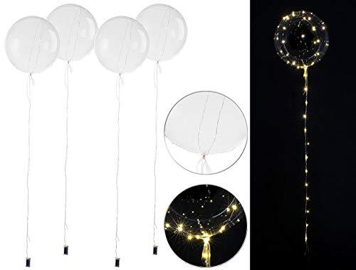 infactory LED Ballone: 4er-Set Luftballons, Lichterkette, 40 weiße LEDs, Ø 30 cm, transparent (Ballon Lichterkette)