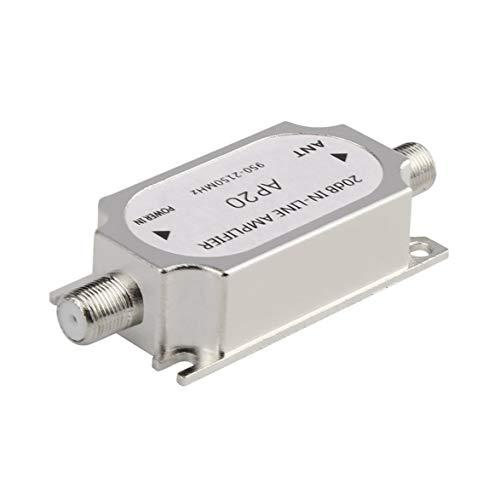 Sylvialuca Amplificador de señal Satélite Amplificador en línea de 20dB Amplificador de señal 950-2150MHZ Señal para Antena de Red de Plato Cable Run Canal Intensidad