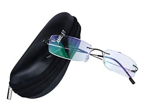 AMILLET Gafas de lectura sin montura de titanio para lectores de hombres y mujeres Gafas sin marco con bisagra de resorte Gafas de empresa de negocios, Paquete de estuche para gafas +1.50