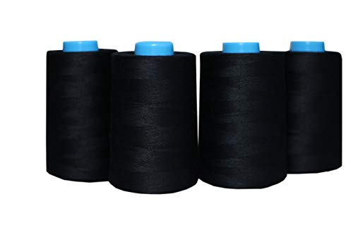 4 Pack of 6000 Yards(24000 Total) Black Serger Sewing Thread All Purpose Polyester Spools overlock Cone