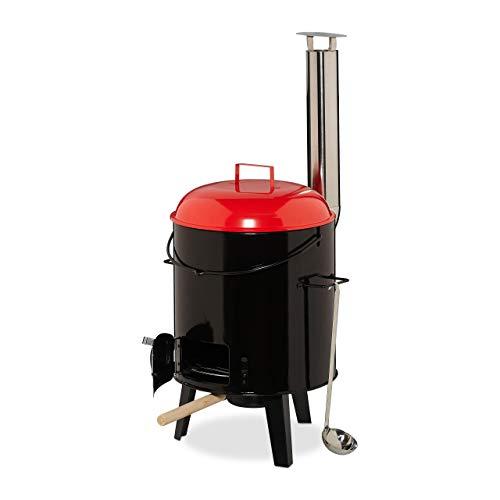 Relaxdays Gulaschkanone, emailliert, Gulaschkessel mit Deckel, 14 Liter, mit Grillrost, Outdoor Feldküche, schwarz/rot